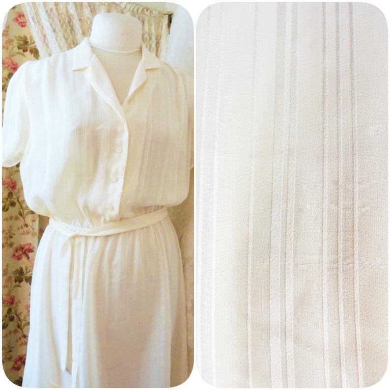 Beautiful Timeless Monica Richards of California Sheer Dress Cream Color with Sash Pin-Stripe design 70/'s 80/'s Fine Fashion