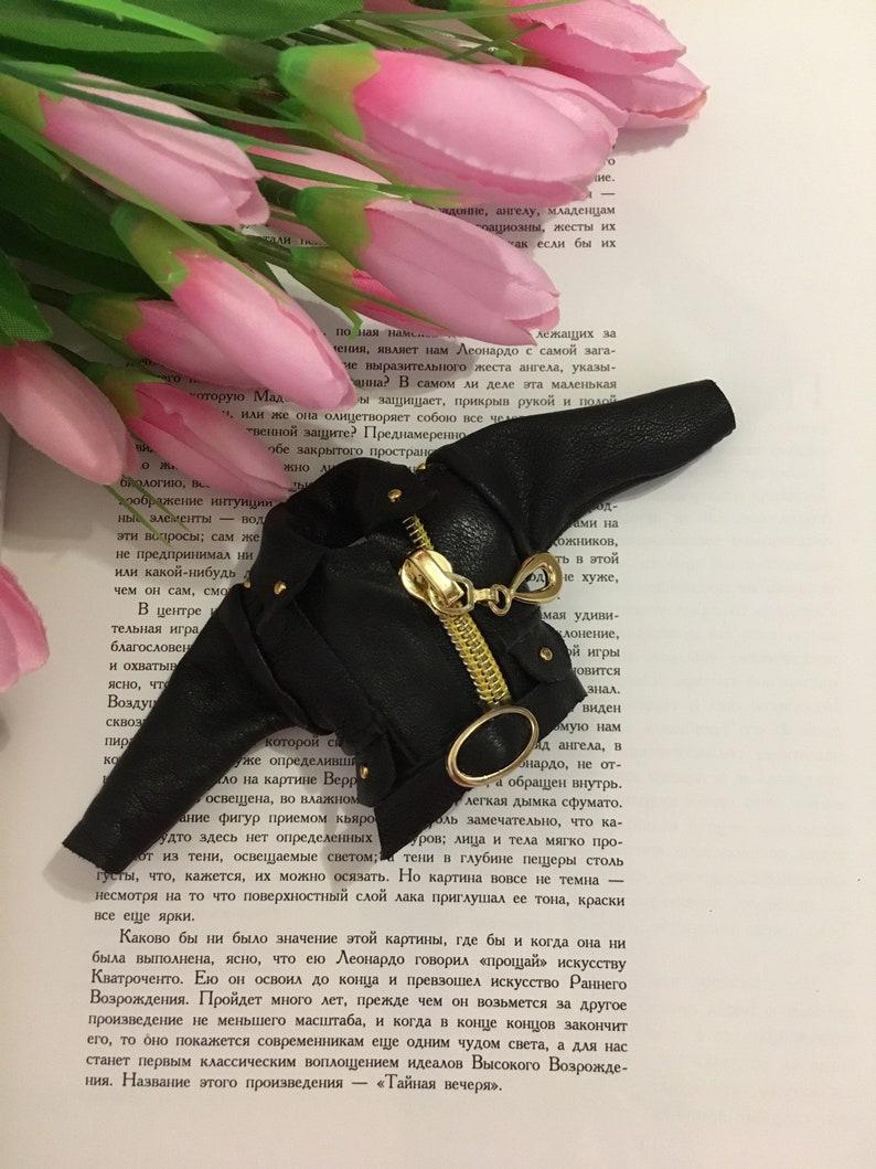 Jacket black genuine leather doll Blythe Gothic Neo blythe Pullip  vampire  Obitsu coat  Azone Takara Pure Neemo  licca  icy dal