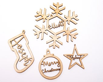 Personalised Wooden Christmas Tree Ornaments