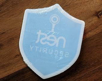 Indoor Nest Security Cam Badge/Shield sticker (reverse print, sticks INSIDE windows!)