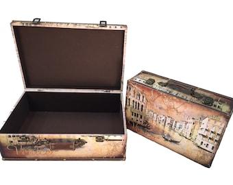 Venice Suitcase Briefcase Trunk Wood Storage Wooden Treasure Chest