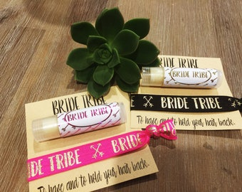 Foil Bride Tribe 2pk of hair ties and lip gloss. Hens, Bridesmaids gifts 6 colours