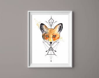Imprime acuarela Fox / / A4 o A5 / / geométricas