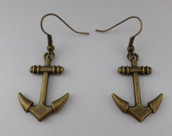 large anchor earrings bronze