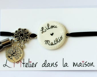 Personalized name charms and white Medallion bracelet