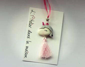 Pink and white Unicorn with tassel necklace