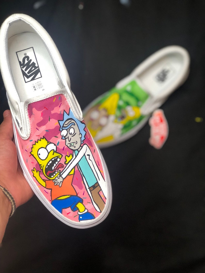 a9700b706c66 Custom Vans Rick And Morty X The Simpsons Slip On | Etsy