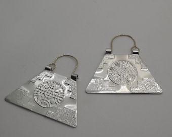 8171eb05d Large Mapuche nickel silver earrings with embossed Kultrum + chakana  (trapezoid)