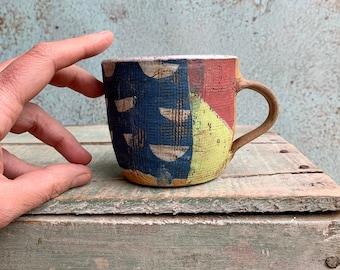 READY TO SHIP Ceramic Beaker Printed Textured Red Blue Mustard Distressed Rustic Texture Coffee Latte Australia