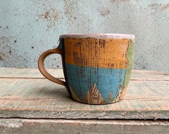READY TO SHIP Ceramic Beaker Printed Textured Pink Blue Mustard Distressed Rustic Texture Coffee Latte Australia