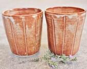 Handthrown Stoneware Beakers Tumblers Stripey Glaze Textured Earthy Rustic Australian