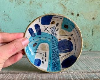Handmade Ceramic Stoneware Trinket Ring Nibbles Blue Aqua Decorative Australian Ceramic READY TO SHIP
