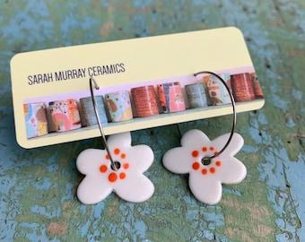 READY to SHIP Ceramic Hoop Porcelain Earrings Spotty Dotty Orange Daisy Flower