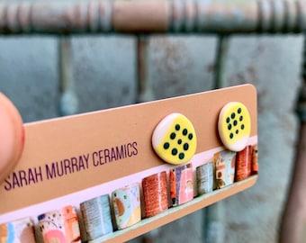 READY to SHIP Ceramic Stud Earrings Yellow White Spotty Dotty Colour Art
