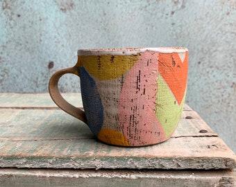 READY TO SHIP Ceramic Beaker Printed Textured Green Blue Mustard Distressed Rustic Texture Coffee Latte Australia