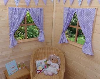 Lilac Dotty Playhouse Curtains