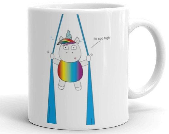 aerialist Mug, trapeze mug, circus gift, aerialists, aerial problems, acrobat gift, unicorn, unicorn gift, rainbow