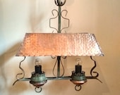 Old heating pad - pool 2 chandelier pendant lights - hammered copper shade
