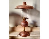 Art Deco lamp in hammered copper and globe tube glass fireplace-table lamp Art Nouveau-light mushroom