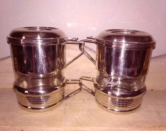 2 cups coffee percolator Gersyl glass and silver 2 coffee cups percolator Gersyl, glass and silver