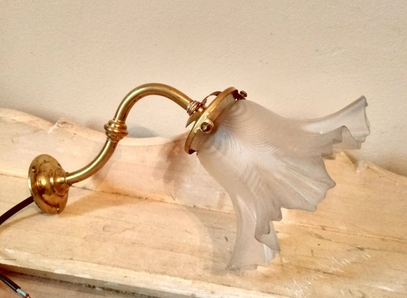 Antique french tulip wall light brass arm lamp applique etsy