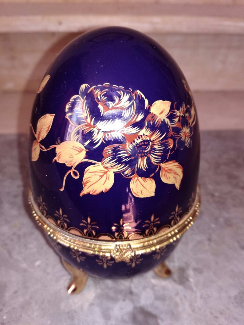 Faberg\u00e9 style egg Jewelry box Easter egg porcelain