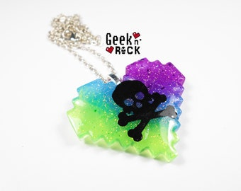 Geek necklace - Rainbow GEEK TOXIC pixel heart
