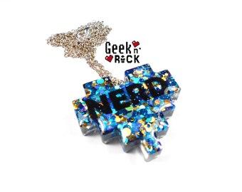Geek necklace - pixel NERD heart