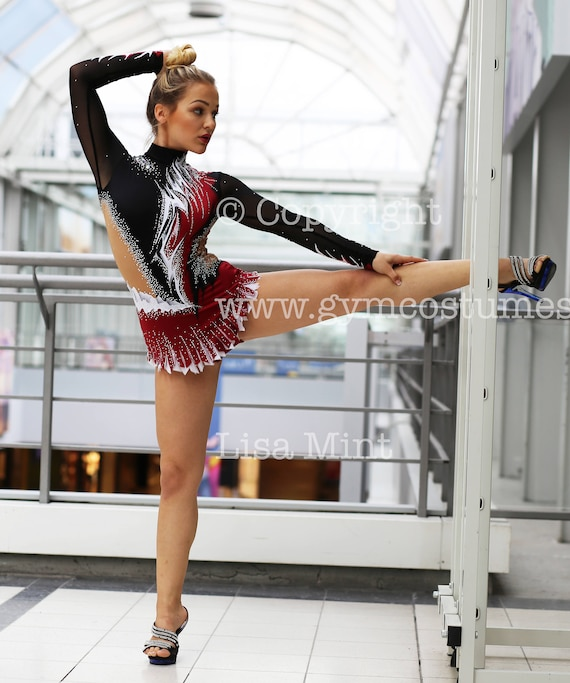 Leotard competition  rhythmic gymnastics leotard acrobatics suit Acrobatic Rock/'n Roll Twirling dance dress RG
