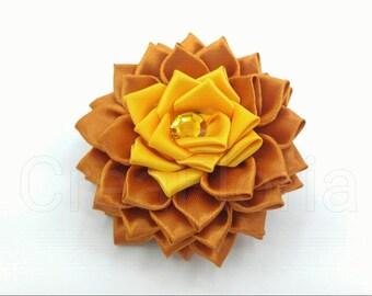 Satin Ribbon Dahlia Fabric Flower Yellow Brown Golden Handmade Brooch Hair Accessory Clip Pin Barrette