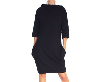 Black Heavier Weight Jersey Minimalist Oversized Women's Dress With Pockets And Asymmetric Collar