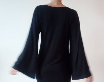 b7dd84ead Wide Sleeves Black Jersey Minimalist Dress Bell Sleeves Black Women s  Tunic Black Cocktail Dress  Gift for Her Jersey Dress