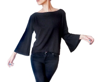 99aba252191ba Minimalist Women Top with Bell Sleeves  Oversized Top with Wide Sleeves  Women  Shirt  Gift for Her