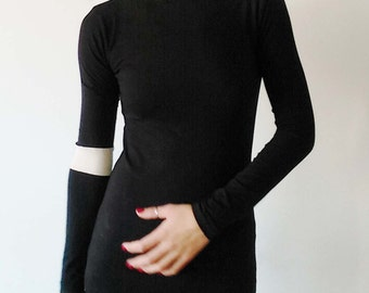 Black Jersey Fitted Top/Color Block Top/Party Top/Designer Minimalist Top