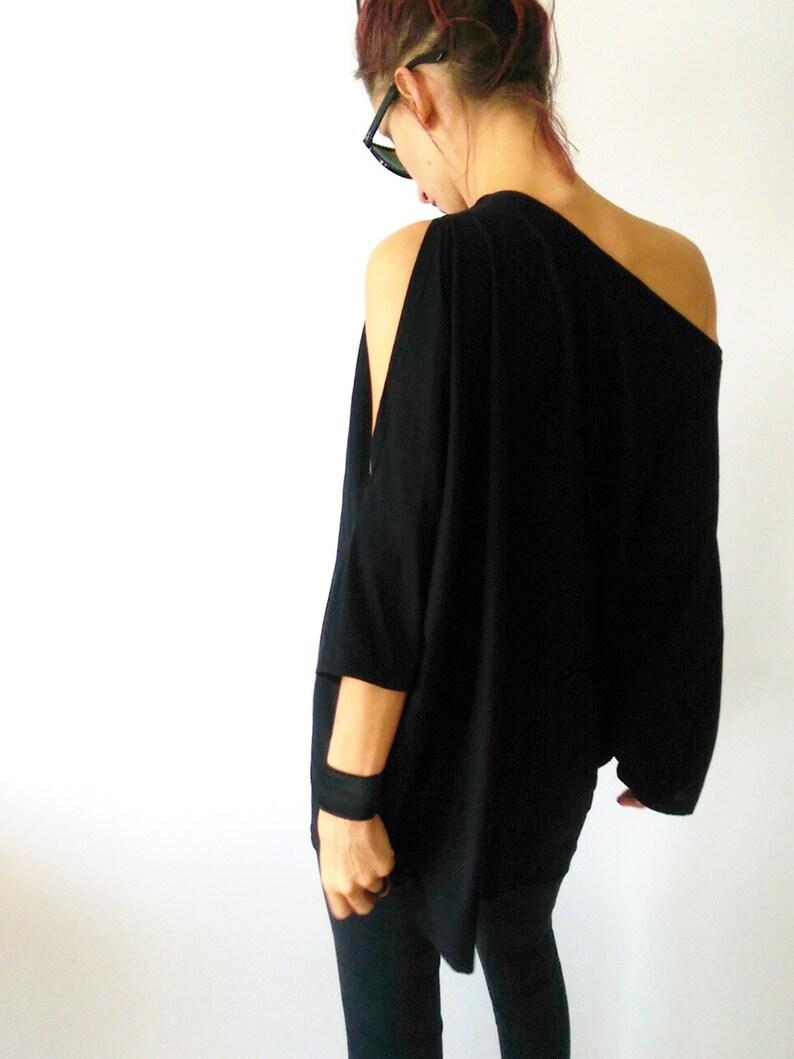 Off The Shoulder Black Women/'s Tunic Party DressCocktail Black TunicOversized Women TunicAsymmetrical Jersey Tunic