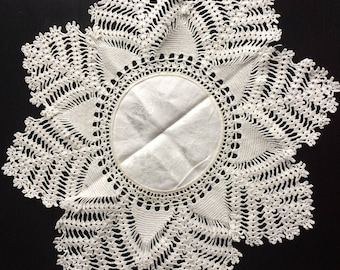 Vintage Crocheted and Damask Doily