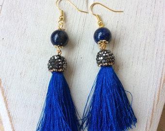 Earrings with lapis lazuli