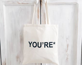 Your tote bag you're grammar quote funny word english canvas cotton teacher gift