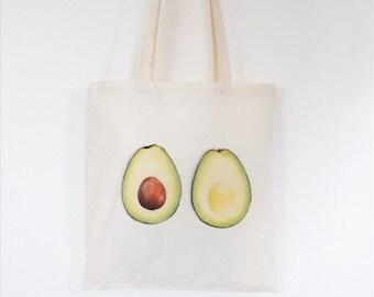Avocado Tote Bag, Ethically Produced Reusable Shopper Bag, Farmers Market Bag, Cotton Tote, Shopping Bag, Eco Tote Bag, Reusable Grocery Bag