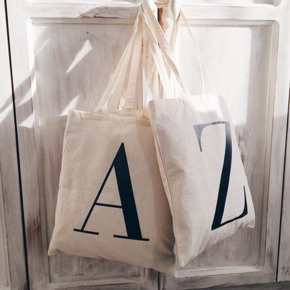 initial tote bag tote bag canvas bag alphabet bag etsy