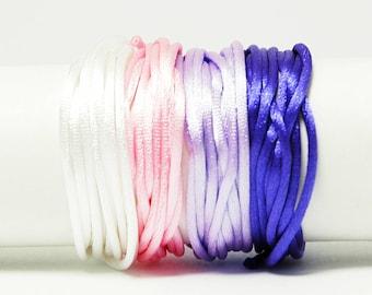Cordon Queue de Rat - 1 mm - Pastel - Kit bracelet, kit collier, kit bijoux, shamballa, Nylon, Rat Cord, Tissage, Macrame, cordon satin