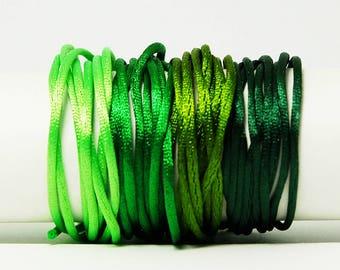 Cordon Queue de Rat - 1 mm - Vert - Kit bracelet, kit collier, kit bijoux, shamballa, Nylon, Rat Cord, Tissage, Macrame, cordon satin