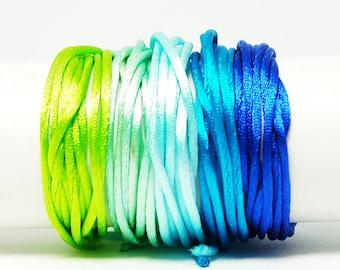 Cordon Queue de Rat - 1 mm - Vert/Bleu - Kit bracelet, kit collier, kit bijoux, shamballa, Nylon, Rat Cord, Tissage, Macrame, cordon satin