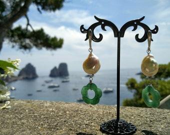 925 silver earrings , pearl and jade flower