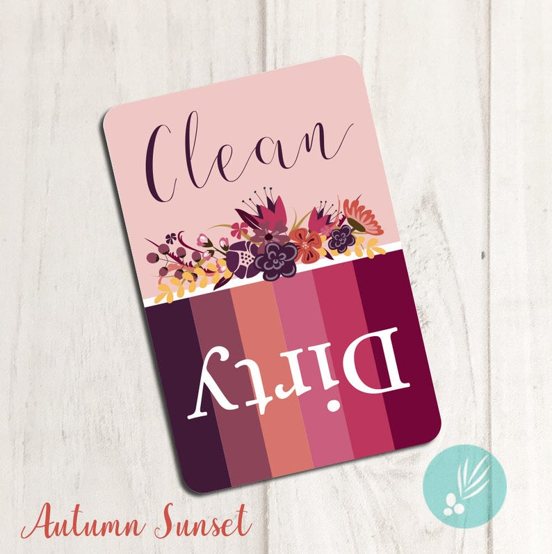 Dishwasher Clean Dirty Magnet Dishwasher Magnet Clean Dirty Autumn Sunset