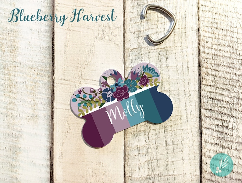 Dog Collar Tags Personalized Floral Pet ID Tags Dog ID Tags image 0
