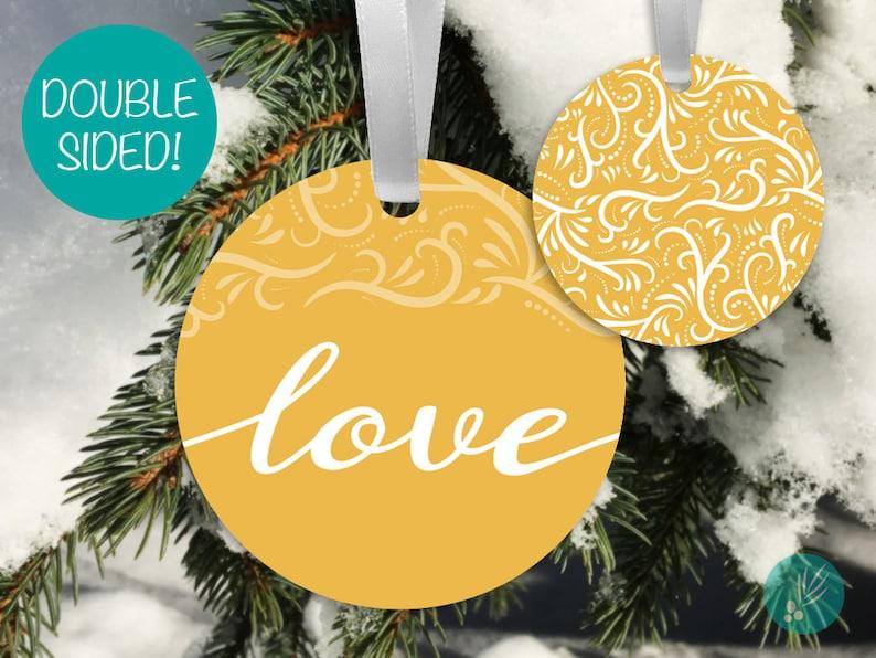 Love Christmas Ornament Metal Ornaments Modern Christmas image 0