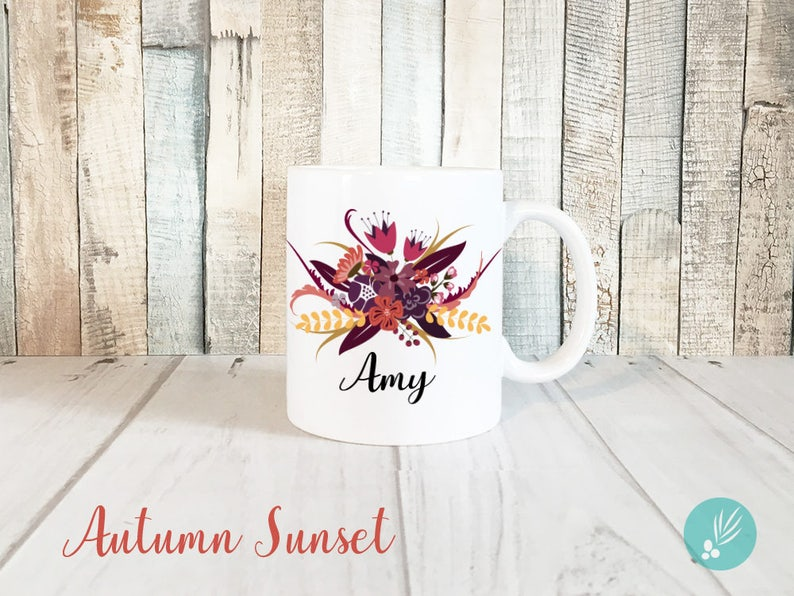 Personalized Floral Mug Personalized Mug Floral Personalized image 0