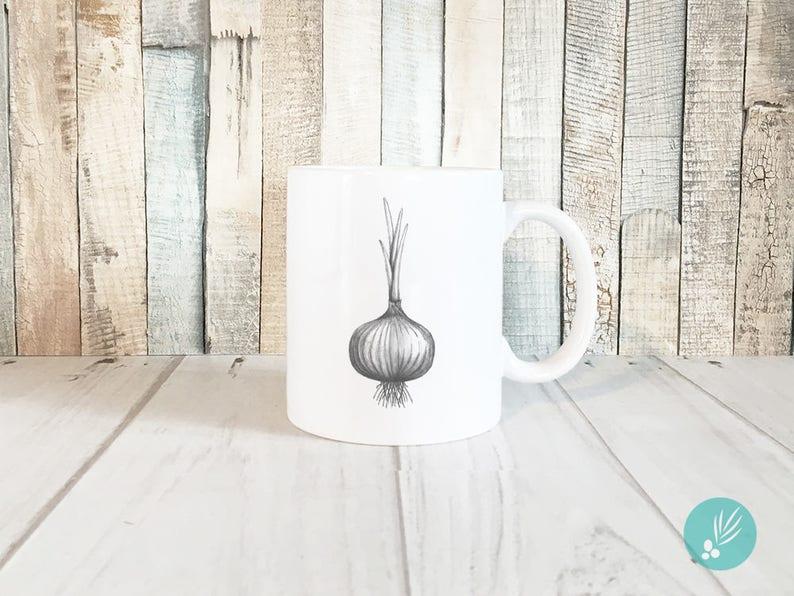 Farmhouse Kitchen Decor Unique Coffee Mugs Onion Print Mug image 0