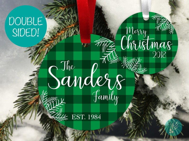 Personalized Family Christmas Ornament Buffalo Plaid image 0